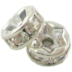 100PC 6mm/8mm Gold/Silver Plated Rondelle Clear Crystal Rhinestone Spacer Beads