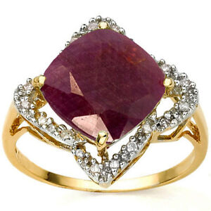 4.02 Carat TW Ruby & Diamond 18K Solid Yellow Gold Ring