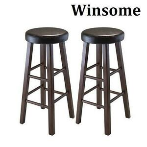 2 NEW WINSOME 29'' BAR STOOLS MARTA ROUND BAR STOOLS -ANTIQUE WALNUT FINISH - PU LEATHER CUSHION SEAT 102869700