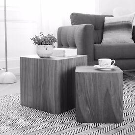 Dwell square stacking tables dark oak, 113781 X2 large h38cm : w40cm : d40cm