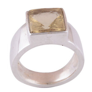 Citrine, thick band, Size 8.
