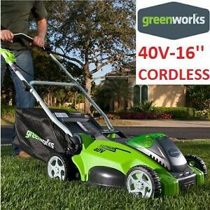 NEW GREENWORKS  ELECTRIC LAWN MOWER - 114108260 - 16'' CORDLESS 40 VOLT 4AH BATTERY