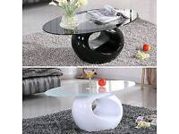Modern Design Black/White Glass Oval Coffee Table