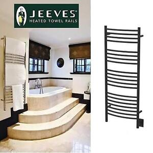 NEW JEEVES ELECTRIC TOWEL WARMER 192625840 D CURVED WALL MOUNT AMBA BLACK