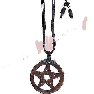 LARGE WOODEN MAHOGANY  PENTACLE