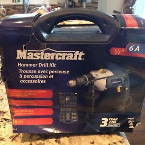 Mastercraft hammer drill kit set new packed120 v