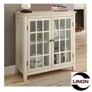 NEW LINON DOUBLE DOOR CABINET LARGO ANTIQUE WHITE - GLASS DOORS 105402934