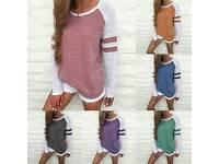 Ladies long sleeve spliced top