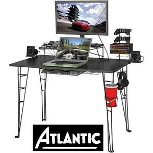 NEW ATLANTIC GAMING DESK CABLE MANAGEMENT SYSTEM - FITS 27'' FLAT PANEL MONITOR UP TO 40 POUNDS 106144617