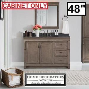 "NEW* NAPLES 48"" VANITY CABINET - 122296695 - HOME DECORATORS COLLECTION DISTRESSED GREY BATHROOM STORAGE CABINETS DRA..."