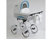 Blue and white wicker 3 in one travel system