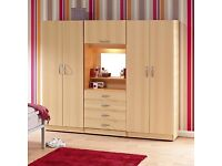 BRAND NEW FOUR DOOR FAMILY FITMENT WARDROBE SET WITH SHELVES, HANGING RAIL, LIGHT 4 DRAWERS CLOSET