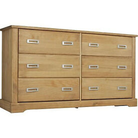 Mendoza Pine 3+3 Drawer Chest - Oak Stain