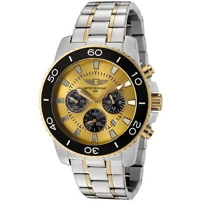 Invicta Men's Chronograph Stainless Steel 3 Eye Gold Dial Black Sub Date Watch on Rummage