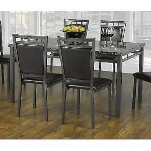 Dining Set 7 pieces Faux Marble steel
