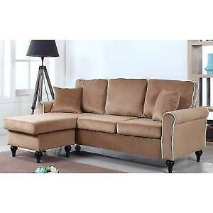 Sectional Sofa Small Space Velvet with Reversible Chaise Lounge Champagne