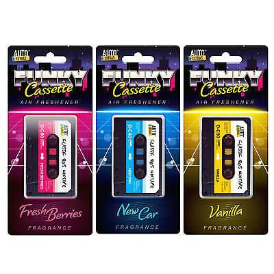 3 Car Air Freshener Retro 80's Tape Cassette Novelty New Car Berries & Vanilla