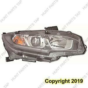 Head Light Passenger Side Halogen [Sedan 2016-2017] [Coupe 2016-2017] [Hatchback 2017] Honda Civic