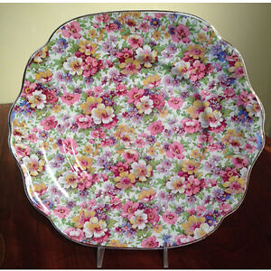 Vintage cake plate by James Kent in ithe Du Barry pattern