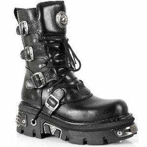 Newrock-Boots-New-Rock-373-S4-Metallic-Black-Leather-Goth-Biker-Emo-Fashion-Shoe