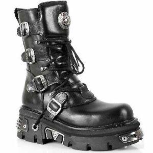Newrock-Boots-New-Rock-373-S4-Metallic-Black-Leather-Goth-Biker-Emo-Fashion-Shoe