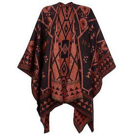 BRAND NEW Multi Aztec Blanket Cape Oriental Spice Poncho Scarf Wrap