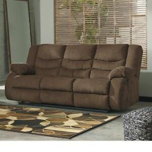 NEW* TULEN RECLINING SOFA - 133412900 - CHOCOLATE FABRIC RECLINER SOFAS COUCH COUCHES RECLINERS LIVING ROOM SEATING