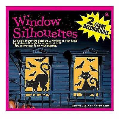 Halloween Fenster Dekoration Katzen und Fleder. Grusel Party Themenparty Sticker