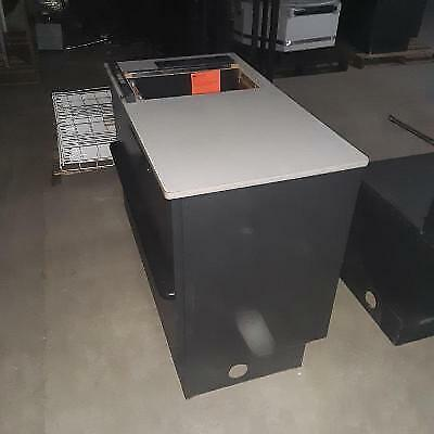 Express Checkout Counter Bagging Area Black Check Stand Used Store Fixtures