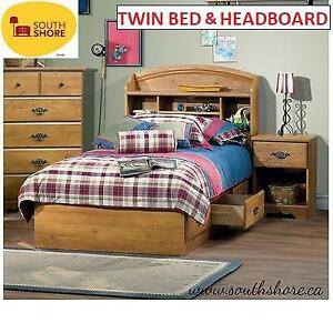 NEW SOUTH SHORE BED/HEADBOARD SET 242908023 TWIN PRAIRIE BOOKCASE COUNTRY PINE
