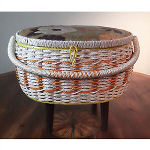 Vintage wicker Singer sewing basket