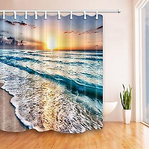 Buy Upanfoo Ocean Wave Shower Curtain Bathroom Decorations With 12