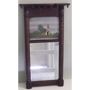 Antique Federal Era Reverse Painted Mirror