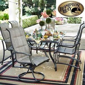 NEW* HAMPTON BAY DINING SET - 125606139 - STATESVILLE PADDED SLING DINING PATIO