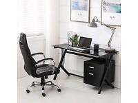 Computer desk black glass used