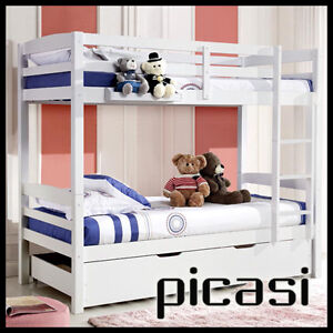 PICASI TWIN OVER SOLID PINE SINGLE BUNK Childrens Wooden Bedroom Furniture Kids