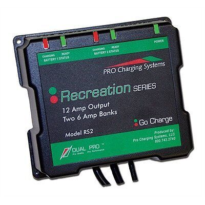 BATTERY CHARGER DUAL PRO 652 RS2 RECREATION 12AMP 2 BANK 6A EACH BOAT MARINE