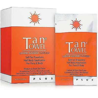 10 TanTowel Plus Half Body $28 Retail Medium to Dark Tanning Tan Towels Fresh!