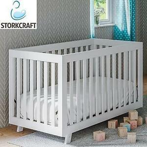 NEW* STORK CRAFT BECKETT BABY CRIB 04610-601 245554379 STATUS WHITE 3 IN 1