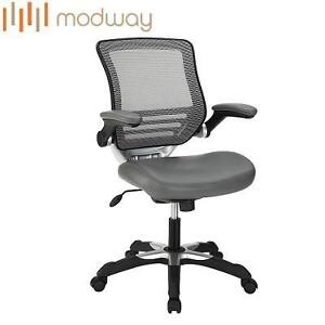 NEW MODWAY EDGE MESH OFFICE CHAIR GRAY - GREY LEATHERETTE SEAT 102239681