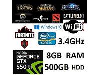 Quad Core i5 GTX 550Ti 8GB RAM 500GB HDD Windows 10 Pro Gaming PC