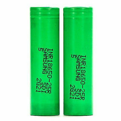 2x Samsung ICR 18650 25R 20A 2500mAh Rechargeable Flat Top Mods 3.7V Battery
