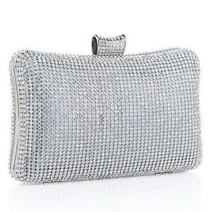 Silver Rhinestone Evening Clutch Purse Bag Handbag