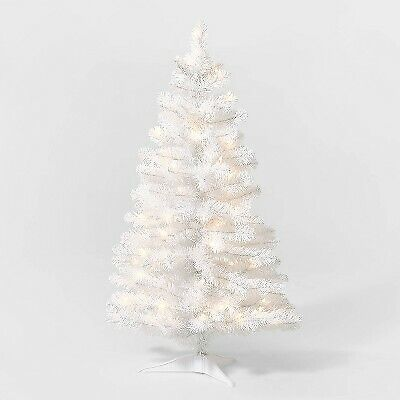 3.5ft Pre-Lit White Alberta Spruce Artificial Tree Clear Lights - Wondershop
