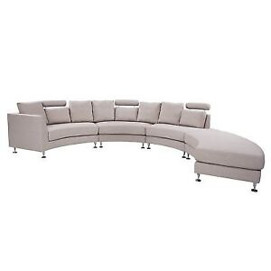 Phenomenal Beliani Curved Sectional Sofa Beige Fabric Rotunde For Sale Gmtry Best Dining Table And Chair Ideas Images Gmtryco