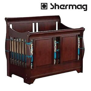 NEW SHERMAG 3 IN 1 BABY CRIB 205648.47 202325232 CHERRY