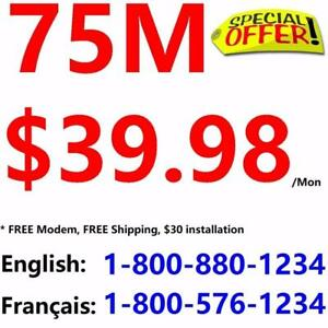 Free Modem +Free Shipping , 150M $49.98, 75M $39.98. Unlimited usage, no contract. Please order at 1-800-880-1234