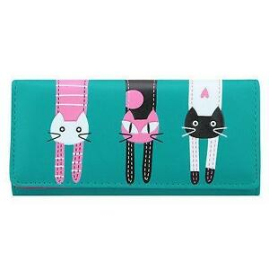 New- Faux Leather Cat Patterned Long Wallets