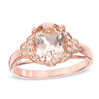 Oval Morganite and 0.10 CT. T.W. Diamond Ring in 10K Rose Gold