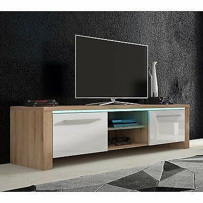 New Gloss White Oak Wood Tv Stand Unit Table Led Lights 160cm